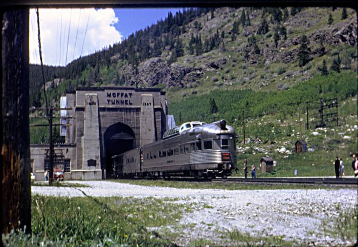 "13. ""California Zephyr entering the east portal of Moffat Tunnel June 19, 1966."""