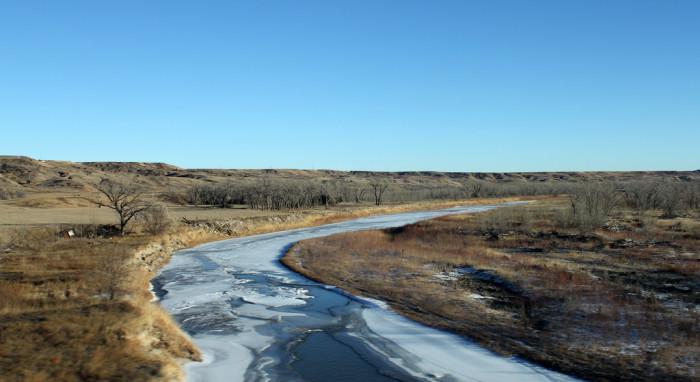 Nearly frozen river - spots in south dakota