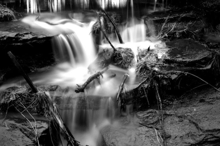 10. This waterfall was captured with long exposure at night.