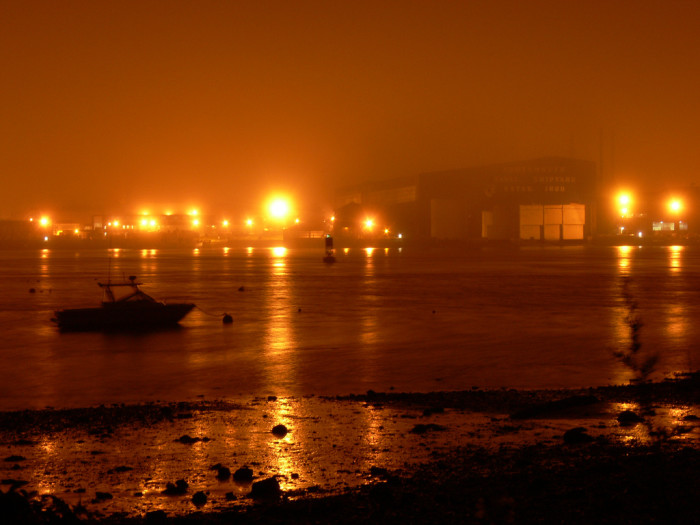 3. What is going on at the Naval Shipyard at night?