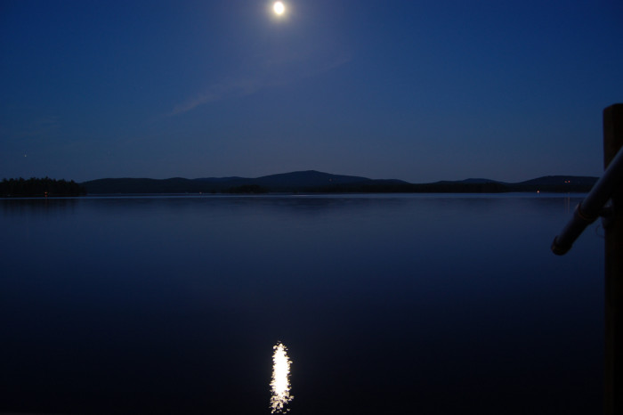 18. The moon reflected on Lake Wentworth.