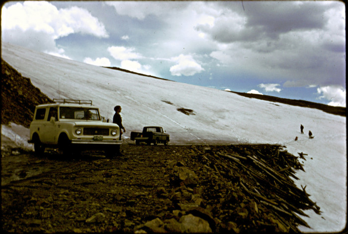 """14. """"Our hike was terminated by this glacier on Rollins Pass. June 19, 1966."""""""