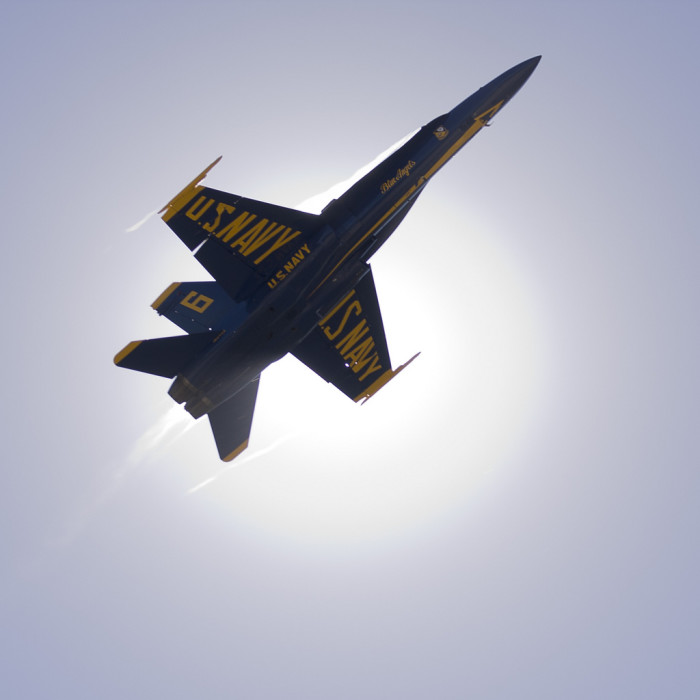 7. This navy jet is actually eclipsing the sun.