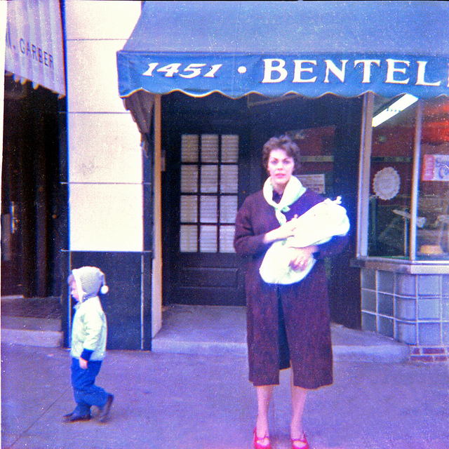 6. A mother and her son stand on Vernon Road in Philadelphia in 1964.