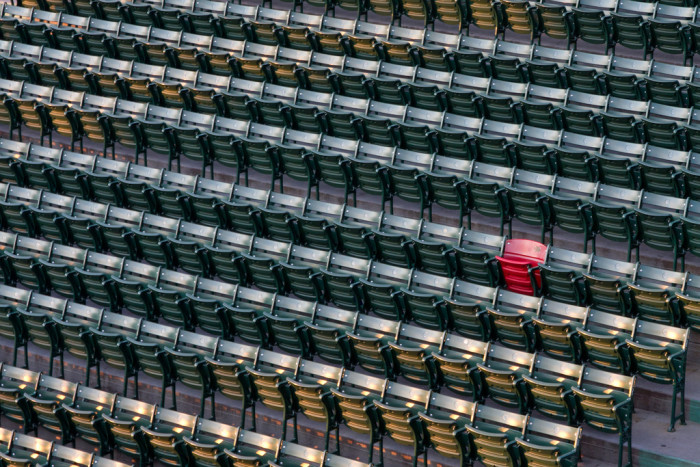 6. This lonely red seat in a sea of green.