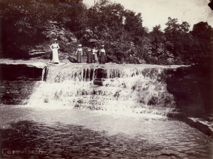 "1. ""Women standing over a waterfall near Carmichaels, Cumberland Township, Greene County"""