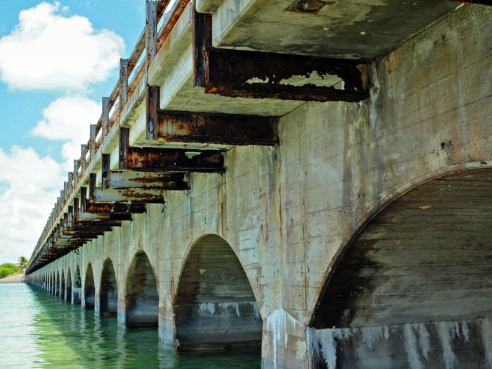 Metal beams rusting on a piece of the old Overseas Highway.