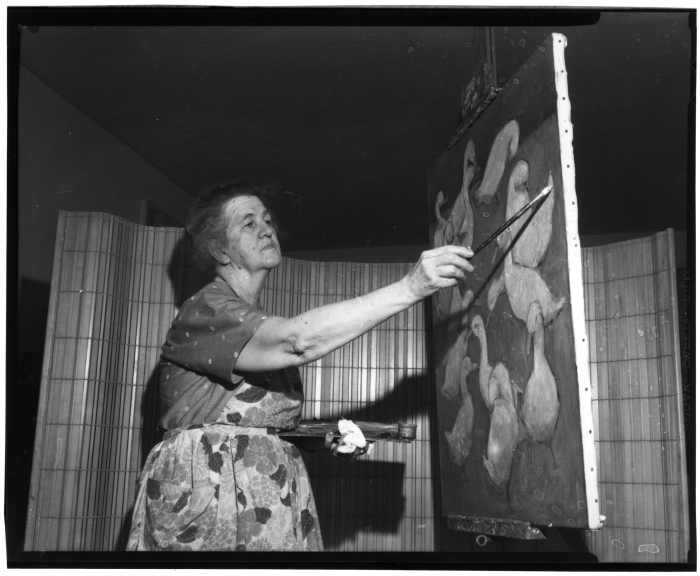 6. Renowned artist and Summit native Marie Hull is photographed practicing her craft, circa 1960.