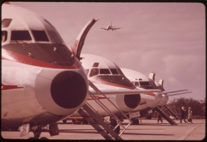 """6. Airliners on Maui in 1973: """"Jet travel between the islands is a cause of rapid development. Sea travel has not been utilized in the tourist trade."""""""