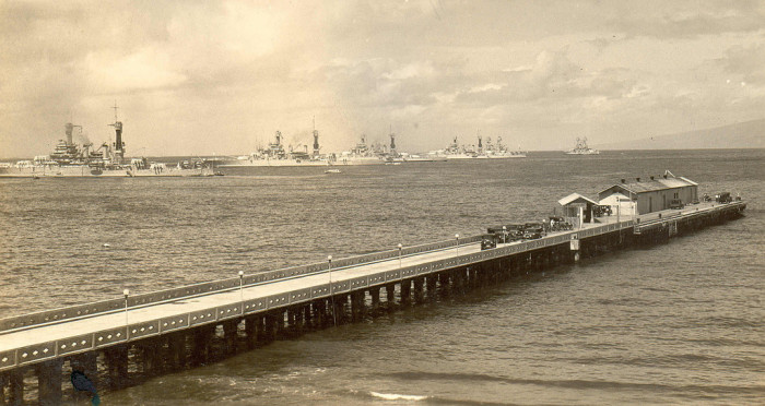 6. This ethereal photograph was taken at Lahaina's Mala Wharf in the mid-1930s.
