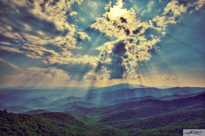 14. Taking in the beautiful blue of the Blue Ridge Mountains.