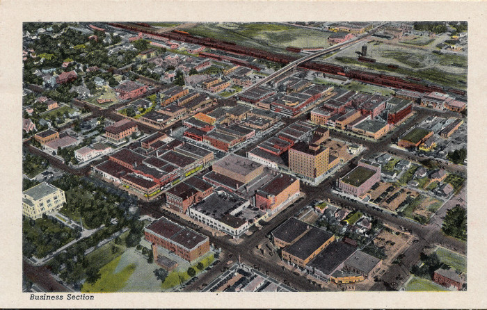 4. Another aerial view, this one of North Platte's business district in 1957, shows just how much time can change a place.