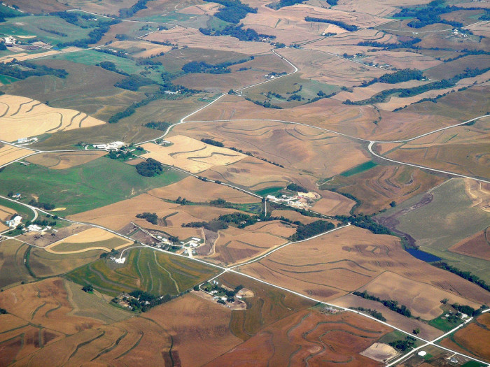 5. From a bird's eye view, the Iowa landscape looks something like a living patchwork quilt.
