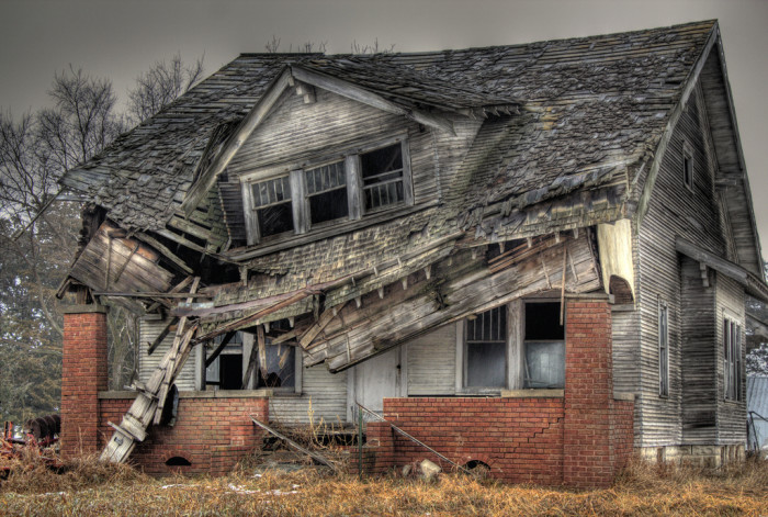 2. This collapsing house looks like it could be the aftermath of an alien attack.