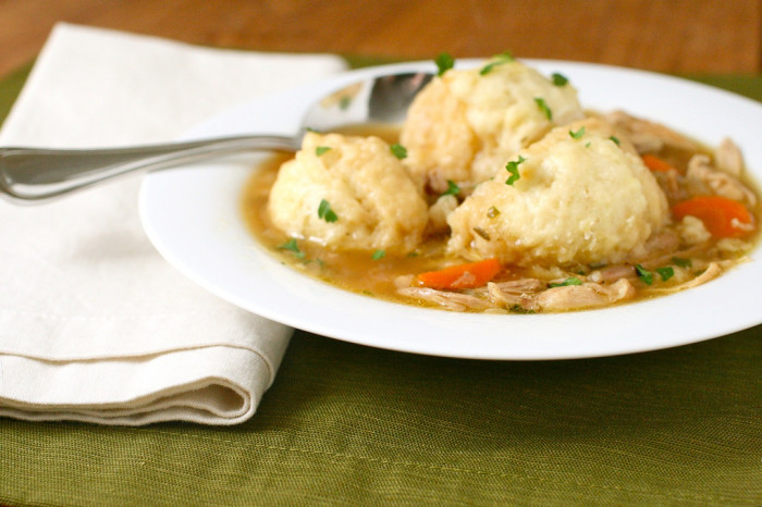 1. A big bowl of chicken and dumplings.