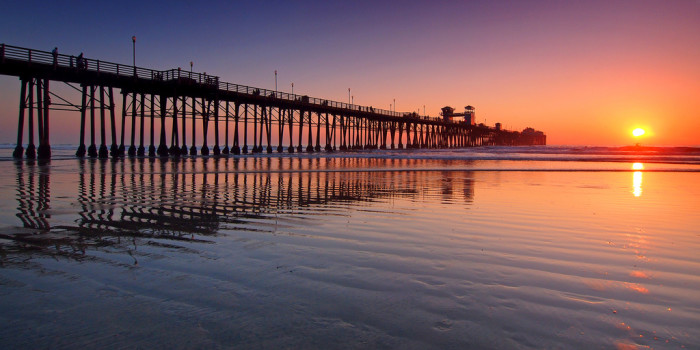 5.  Oceanside Pier looks like a peaceful place for a winter stroll as the sun goes down.