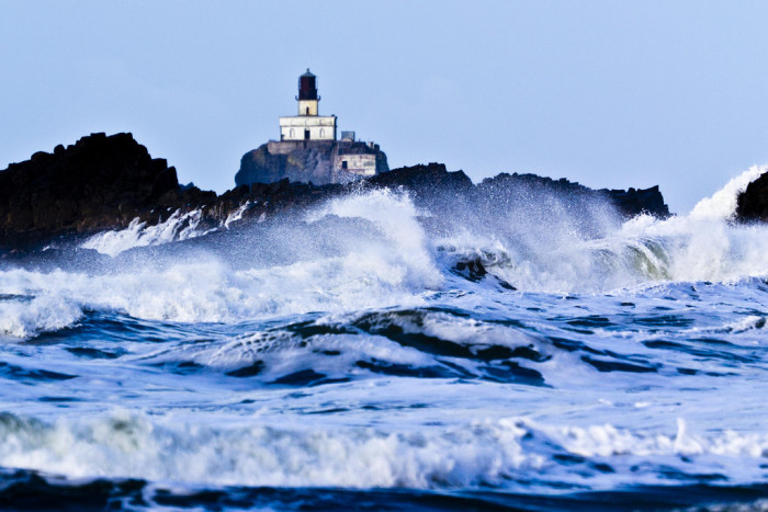 2. The abandoned Tillamook Rock Lighthouse is located on an eroding basalt rock 1.2 miles from the shore of Tillamook Head, and is slowly slipping into the sea.