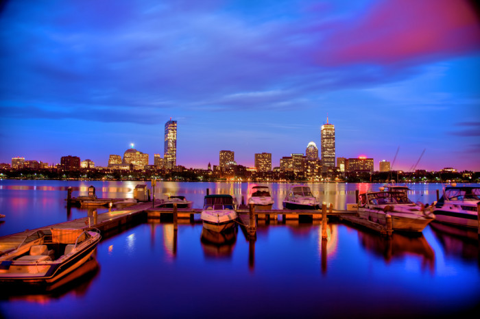 5. The Boston skyline sparkles over the Charles river.