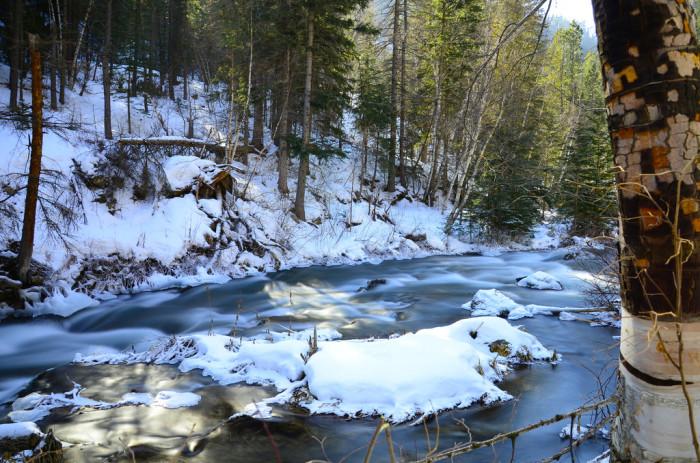 A thawing creek in spring - spots in south dakota