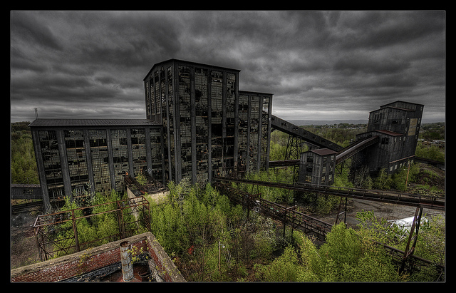 4. The Huber Coal Breaker stands in disrepair.