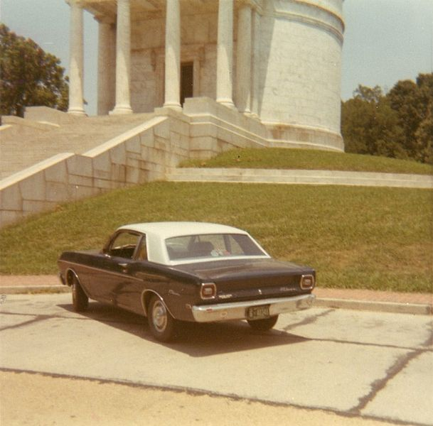 7. A 1969 Ford Falcon Futura Sports Coupe is photographed at the Vicksburg National Military Park's Illinois Memorial in 1970.