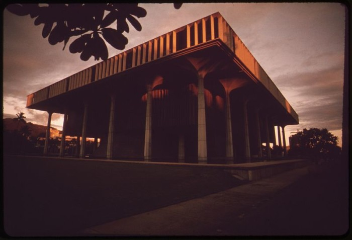 7. The Hawaiian State Capitol, as photographed in the 1970s.
