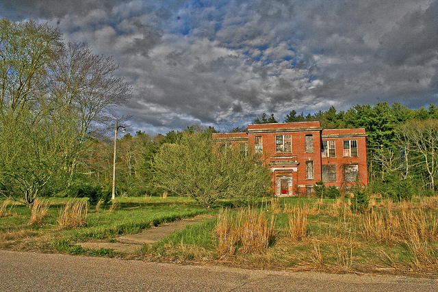 7. The Ladd School, Exeter. Though most of the building has been demolished, the remnants of the school and surrounding land are still creepy.