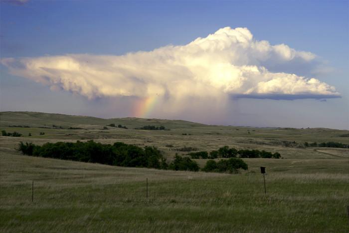 10. Rain clouds over hills near Richardton, ND.