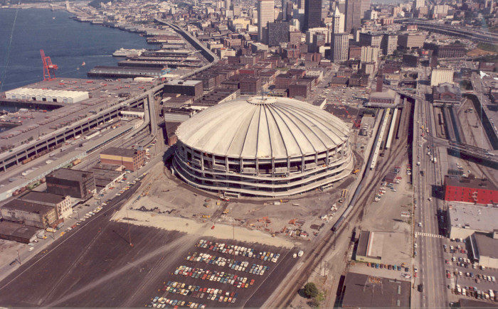 4. The Kingdome when it was being constructed in 1975. It was eventually demolished in 2000 and replaced with Safeco Field.