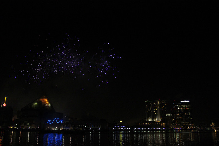 4) The last little fizzles of 4th of July fireworks at the Inner Harbor.