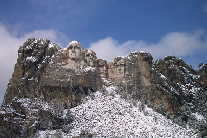 A dusting of snow on Mount Rushmore - spots in south dakota