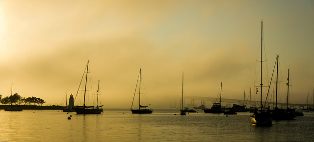 2. Take in this photo of the fog rolling into Narraganset Bay in Newport. Can you see the bridge in the background encased in fog?