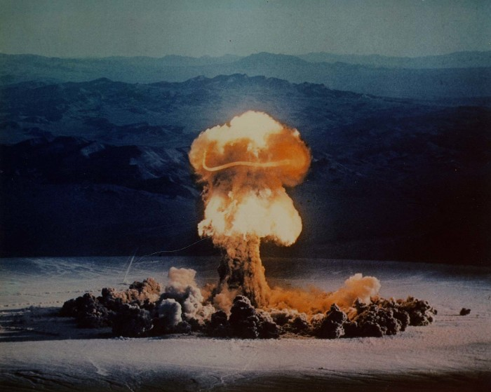12. Nuclear weapons test at Nevada Test Site in 1957.