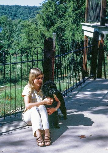 """7.""""My late sister and dog in Missouri sometime in the early 1970s."""" --Alan"""
