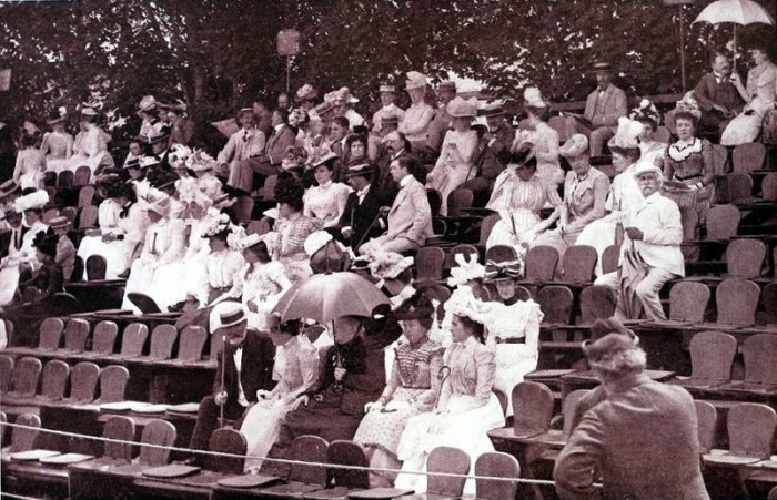8. Newport is the home of the International Tennis Hall of Fame and has a long history with the sport. The elaborate vintage attire at this Newport tennis match in 1901 is an incredible sight!