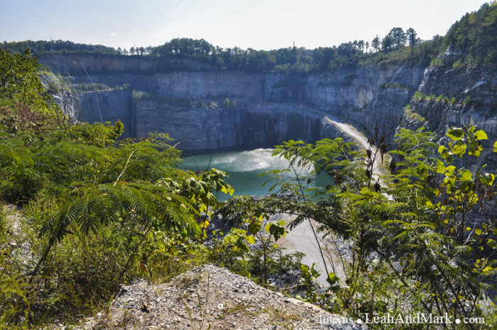 8. A mined quarry featuring rich, blue water and a slice of history: