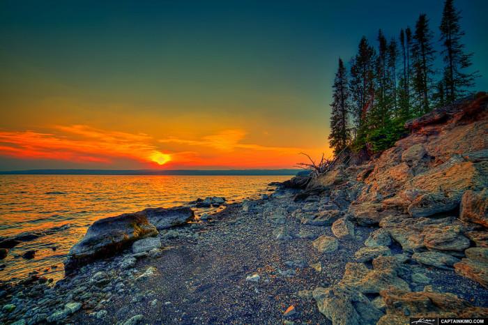 6. Sunset at Yellowstone Lake