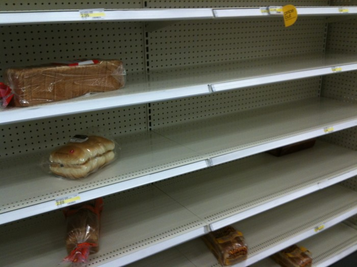 2. Whenever snow is predicted, you don't make it to the grocery store in time and the shelves look like these: