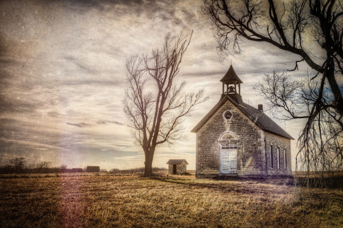 "9. ""Schoolhouse outside of Cedar Point, KS."""