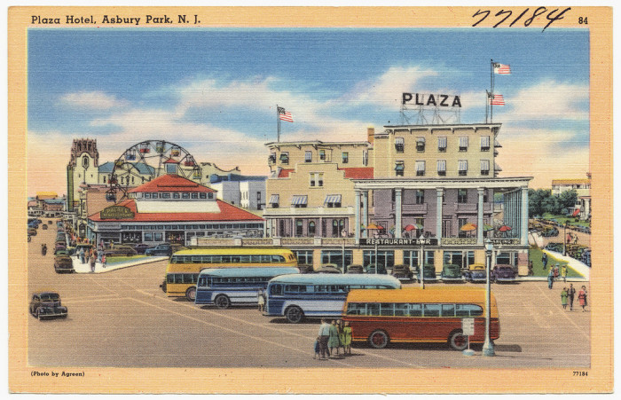 18. Plaza Hotel and the ferris wheel. Asbury Park between 1930-1945.