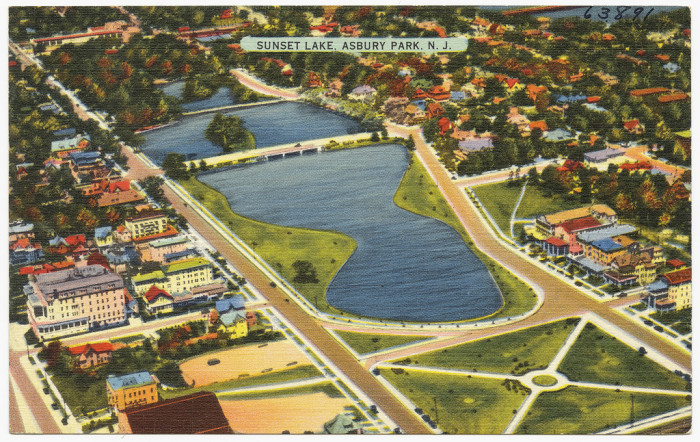22. An aerial view of Sunset Lake circa 1930-1945.