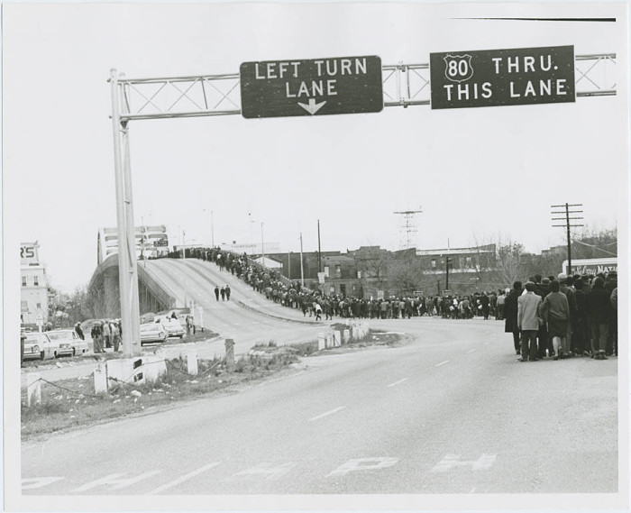 2. The Selma to Montgomery March comes to a halt on the Edmund Pettus Bridge on March 9, 1965.