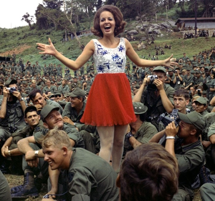 4. Ann Fowler, Miss Alabama, visits the troops in Vietnam, 1970.