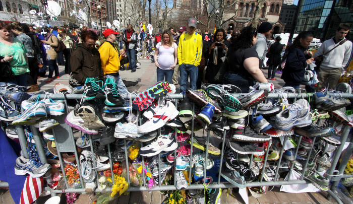 14. When two pressure cooker bombs exploded during the Boston Marathon on April 15, 2013.