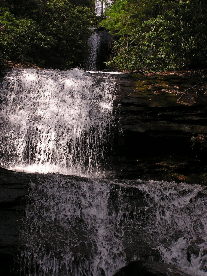 There are three falls in total, with the first two connected by cascading rapids.