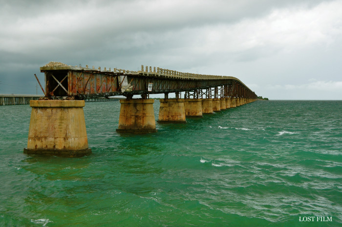 The original overseas highway was built over parts of the railroad, but now sits abandoned after new highway was built in the 1980s.