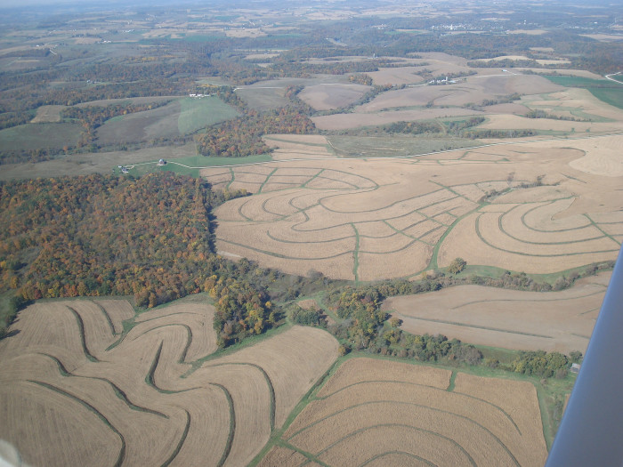 8. This intricately designed field in northern Iowa looks more like a piece of art than a piece of farmland.
