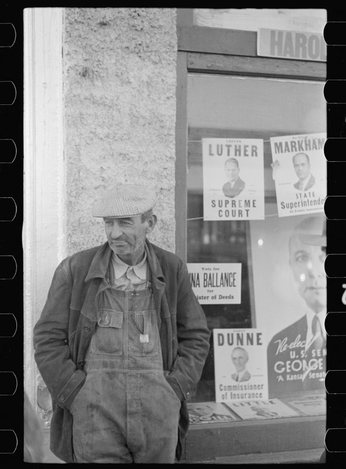 "9. ""Farmer on the street, Minneapolis, Kansas."" (1938)"