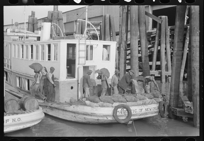 4. Unloading oysters from packet boat arriving at New Orleans