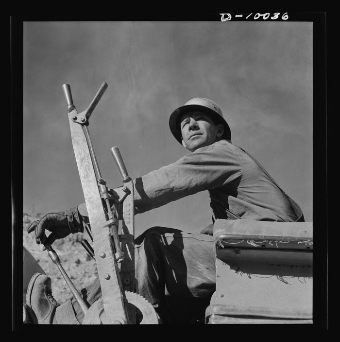 10. Moving to eastern Arizona, this man is operating a bulldozer at the local Phelps-Dodge copper mine in Morenci. Copper was a major Arizona product especially during the war when the country was in a shortage of the metal.